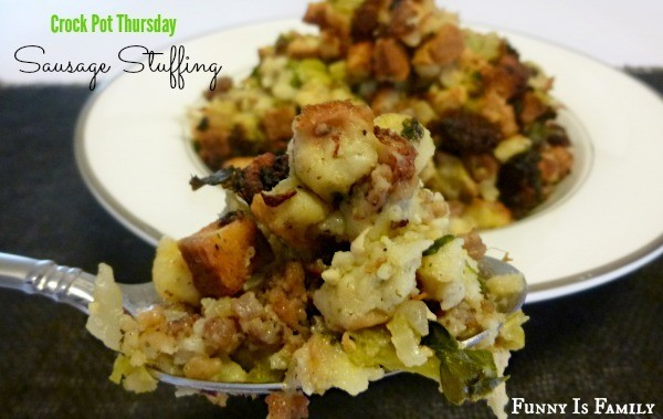 This Crockpot Sausage Stuffing recipe is a perfect Thanksgiving side dish!