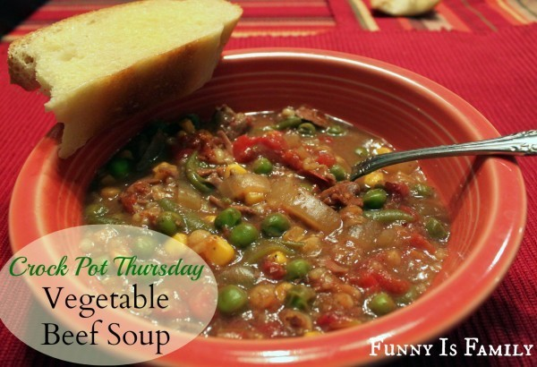 This Crockpot Vegetable Beef Soup recipe is an easy dinner ideas, and a delicious way to eat your veggies!