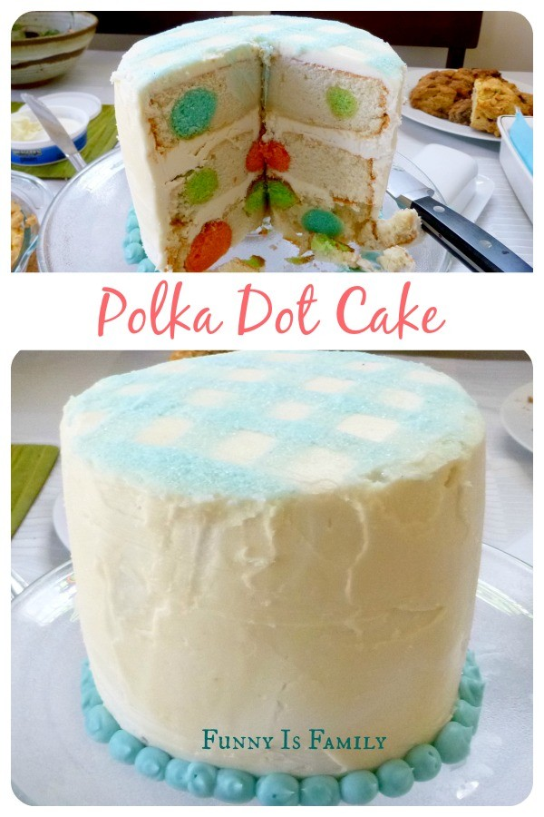 Step by step instructions on making a polka dot cake perfect for baby showers, bridal showers, or birthday parties. Everyone loves a surprise inside cake!