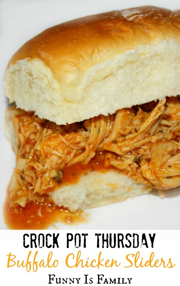 Crockpot Buffalo Chicken Sliders are such an easy dinner recipe. Delicious and perfect for summer.
