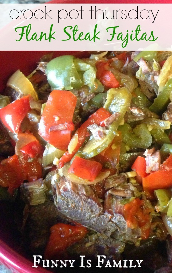You need to make these Crockpot Flank Steak Fajitas! Yum!