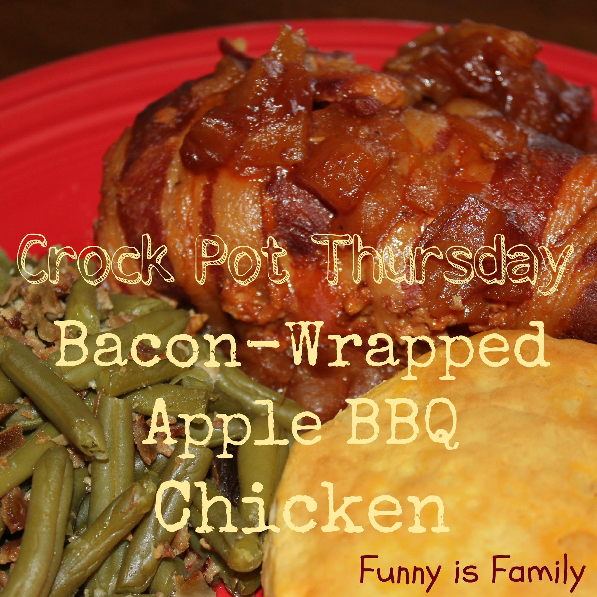 Crock Pot Thursday: Bacon-Wrapped Apple BBQ Chicken