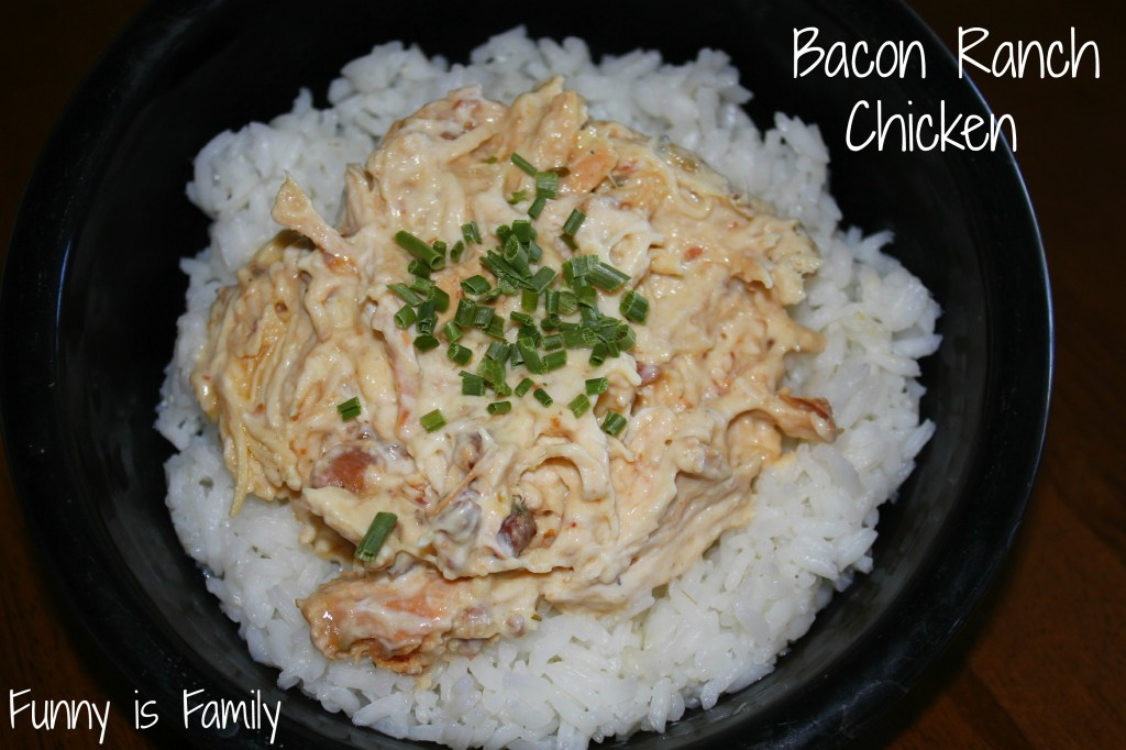 This Crockpot Bacon Ranch Chicken is quick, easy, and crockpot chicken recipe your kids will love