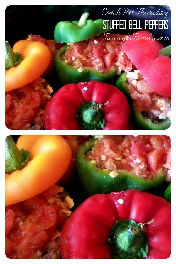 These Crockpot Stuffed Bell Pepper recipe tastes incredible, and you don't need to brown the meat first! You have to try this beautiful and easy dinner idea!