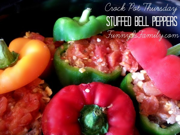 These Crockpot Stuffed Bell Peppers cook perfectly in the slow cooker, and you don't have to precook the sausage and rice! Give this easy and beautiful dinner idea a try!