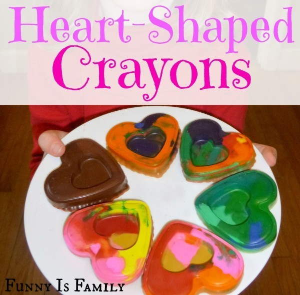 These heart-shaped crayons are easy to make and are a fun Valentine's Day gift idea!