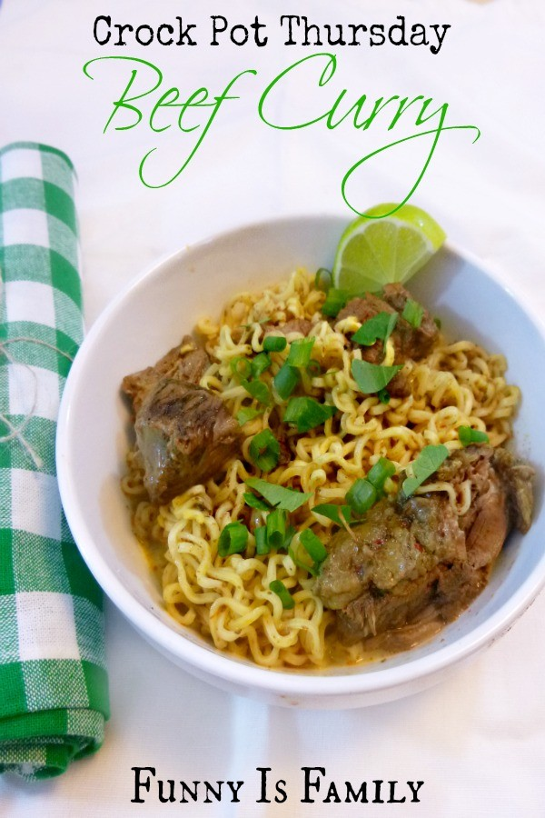 This Crockpot Beef Curry recipe is so good, and you'd never know those are regular ol' ramen noodles in this easy dinner idea! It's like college, only fancier!