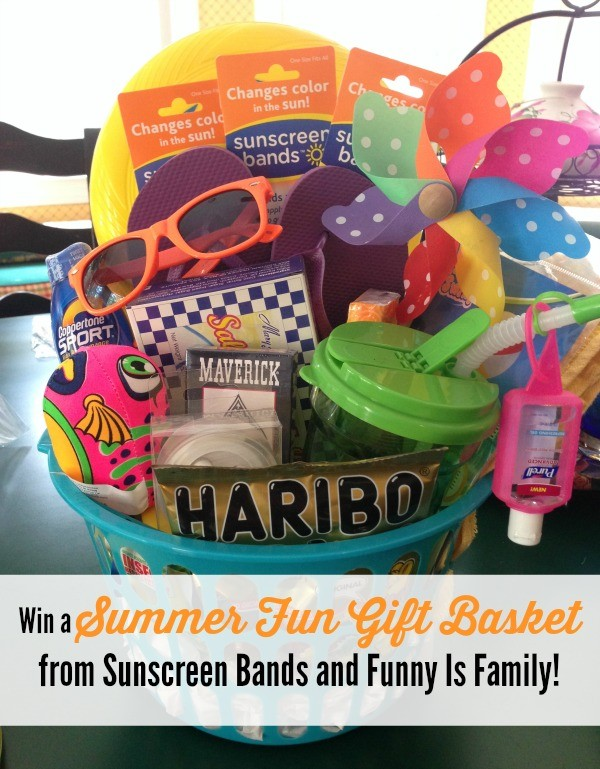 "Win a ""Fun in the Sun"" gift basket from @sunscreenbands and @funnyisfamily, valued at $50!"