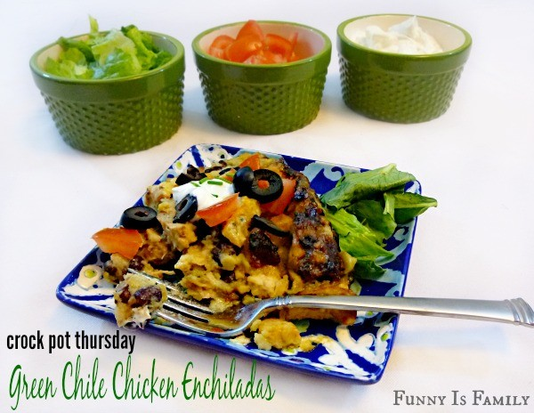 These Crockpot Green Chile Chicken Enchiladas are an easy dinner idea that'll be gobbled up! Make this delicious recipe soon!