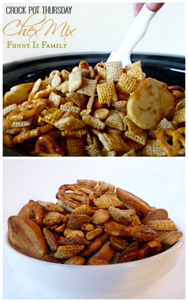 This Crockpot Chex Mix recipe is a great snack for parties!