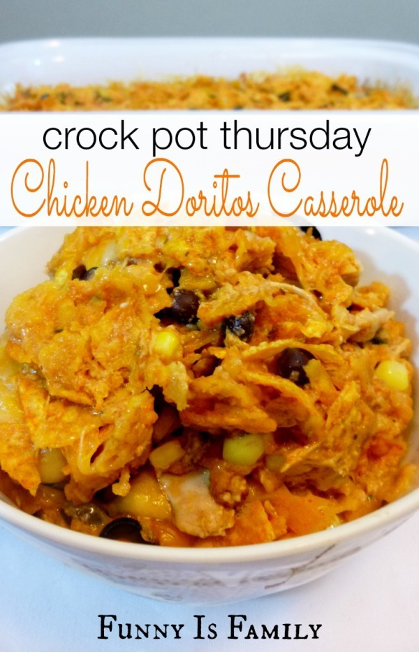 This Crock Pot Chicken Doritos Casserole tastes like enchiladas, without all the work! | FunnyIsFamily.com |