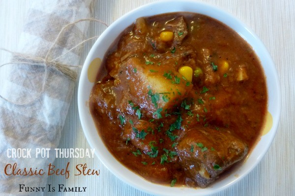 This classic crockpot beef stew tastes like the slow cooker stew recipe my grandma used to make! I served it with homemade biscuits and it a great weeknight meal!