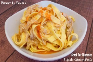 This Crockpot Buffalo Chicken Pasta recipe is cheesy, easy, and delicious. If you love easy chicken pasta recipes, you have to try this!