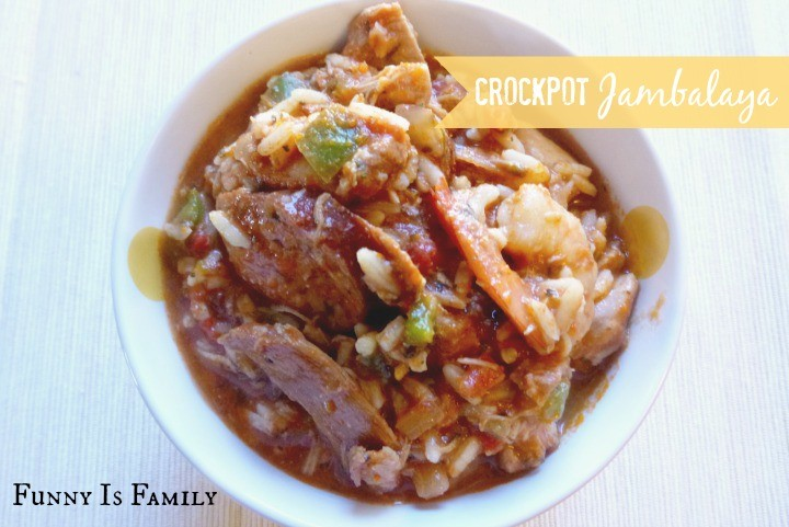 This Crockpot Jambalaya recipe is crammed full of shrimp, chicken, sausage, vegetables, and spices! It's sooo good, you have to pin it!!