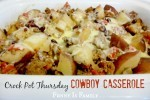 Crockpot Cowboy Casserole is a hearty and family-friendly crockpot meal. My husband loved this slow cooker recipe!