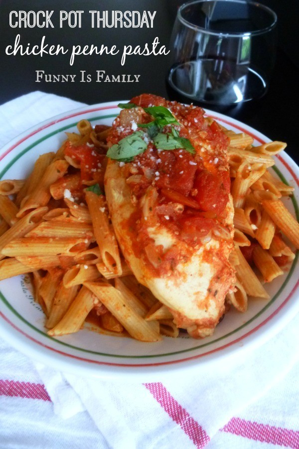 This Crockpot Chicken Penne Pasta recipe is a simple dinner idea the whole family will enjoy!