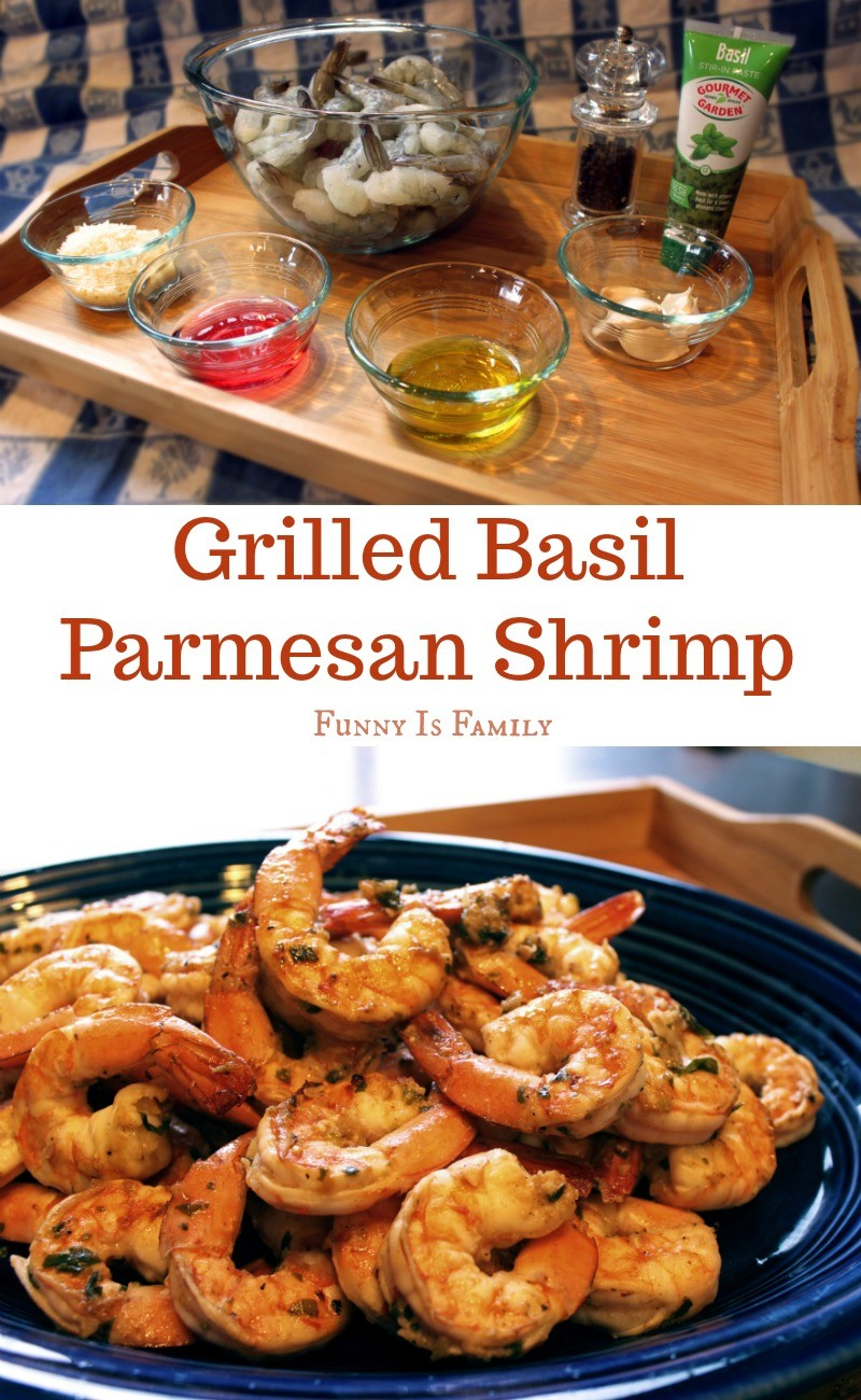 This Grilled Basil Parmesan Shrimp recipe is a quick and delicious meal to serve guests, is great at a BBQ, and makes a super-easy, throw together appetizer!