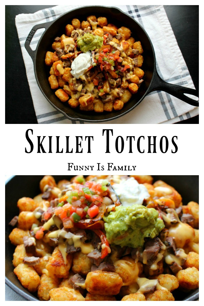 What are Totchos you ask? Totchos are nachos made with tater tots! Skillet Totchos are fun, versatile, and delicious!